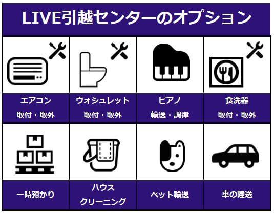 LIVE引越サービスのオプションサービス
